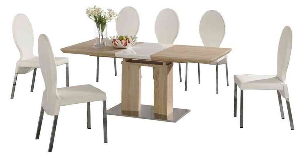 Current Extending Dining Tables With 6 Chairs With Regard To Extending Dining Table And 6 White Chairs Wood Finish /high Gloss (View 3 of 20)
