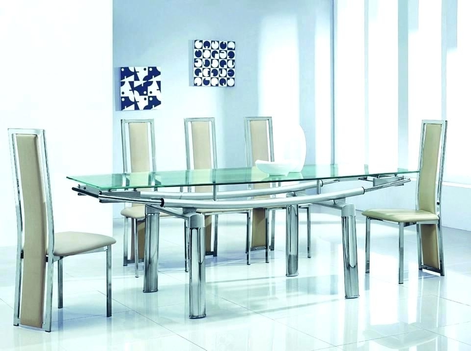 Current Extending Glass Top Dining Table Set Extendable Glass Dining Room With Extendable Glass Dining Tables And 6 Chairs (View 8 of 20)