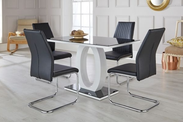 Current Giovani Black & White High Gloss Dining Table Set – Free Delivery Within Hi Gloss Dining Tables (View 20 of 20)
