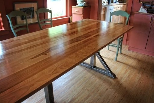 Current Handmade Birch And Steel Trestle Dining Tablehiggins Fabrication Within Birch Dining Tables (View 3 of 20)