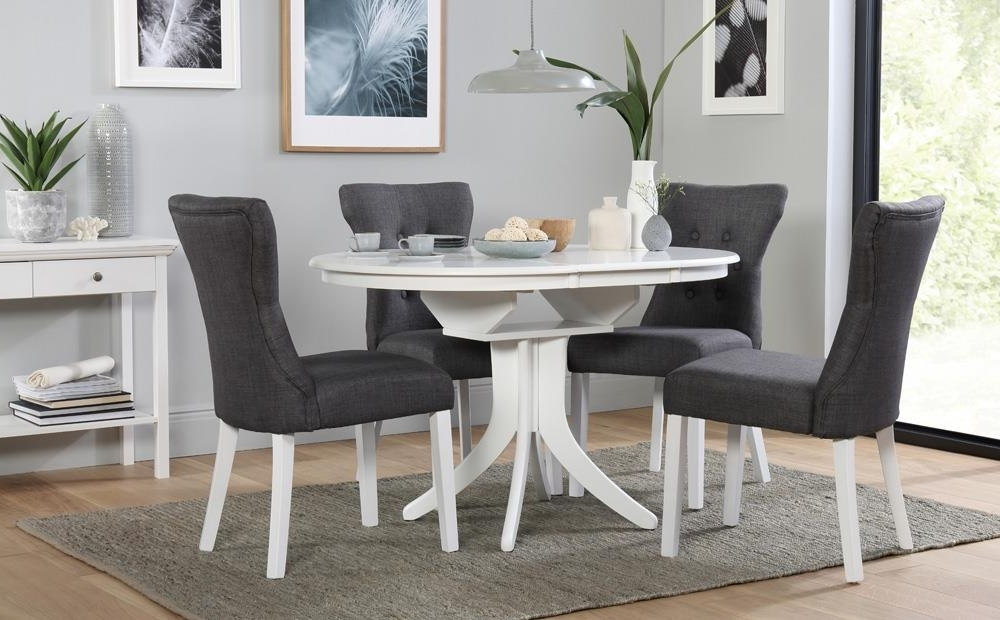 Current Hudson Round White Extending Dining Table With 6 Bewley Slate Chairs Regarding White Extending Dining Tables (View 12 of 20)