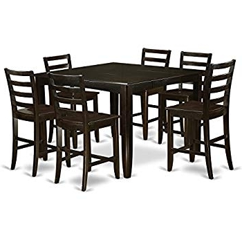 Current Ina Matte Black 60 Inch Counter Tables With Frosted Glass Throughout Amazon – Coaster Home Furnishings 9 Piece Counter Height Storage (View 15 of 20)