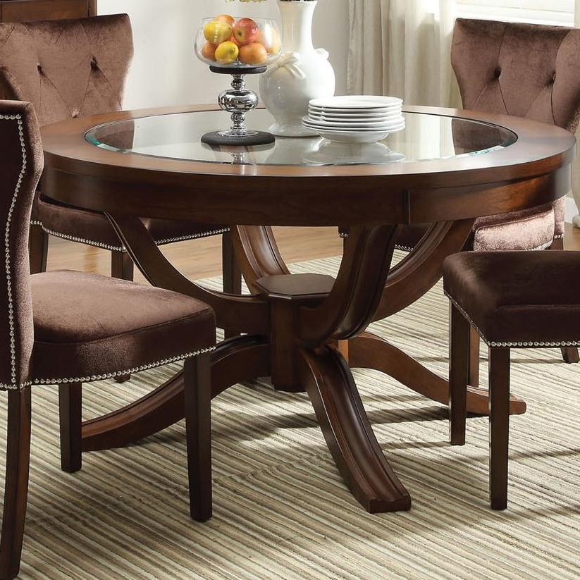 Current Kingston Dining Tables And Chairs Within Acme Furniture Kingston Round Transitional Formal Dining Table (View 3 of 20)