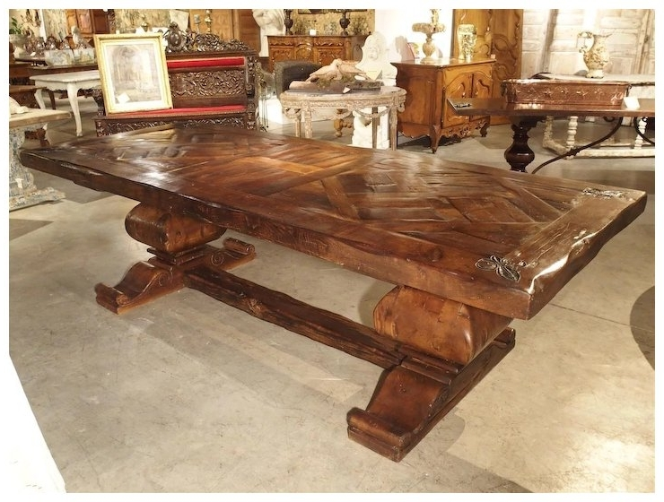 Current Large French Oak Dining Table With Parquet Top And Fleur De Lys : Le With Parquet 6 Piece Dining Sets (View 1 of 20)