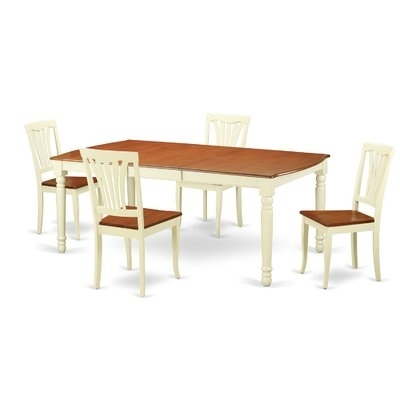 Current Laurent 5 Piece Round Dining Sets With Wood Chairs In August Grove Carmel 5 Piece Dining Set In  (View 4 of 20)