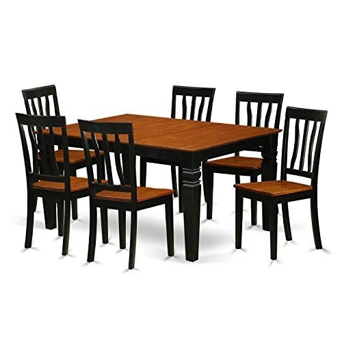 Current Logan 6 Piece Dining Sets Intended For East West Furniture Weston Wean7 Bch W 7 Pc Set Table And 6 Wood (View 4 of 20)