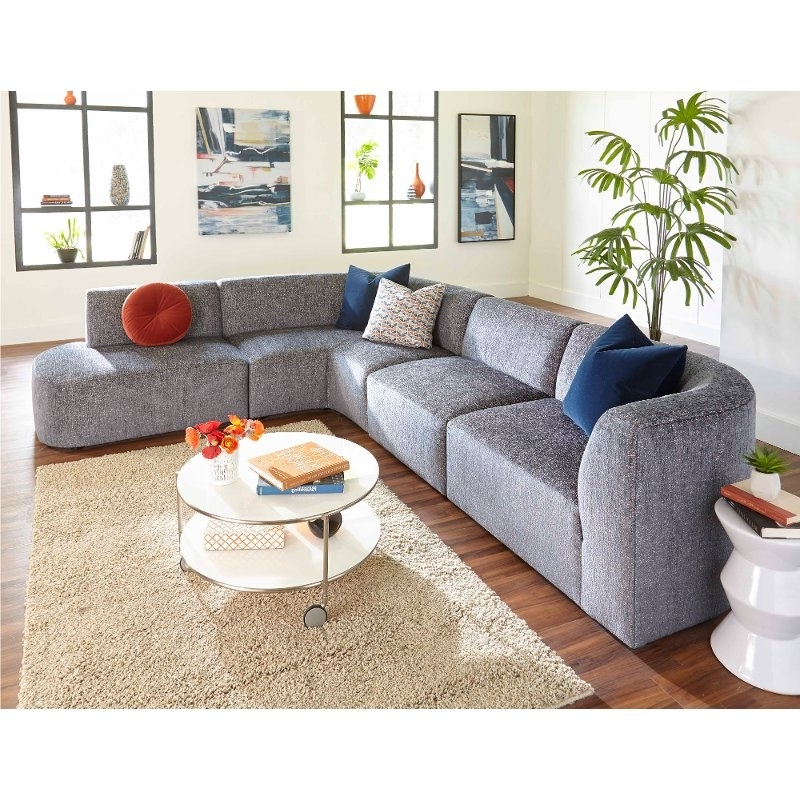 Current Modern Gray 4 Piece Sectional Sofa With Raf Chaise – Nyla (View 15 of 15)
