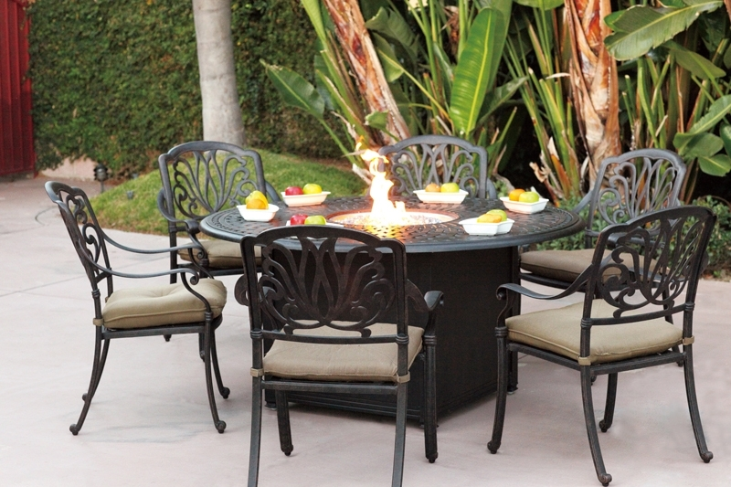 """Current Outdoor Dining Table And Chairs Sets For Patio Furniture Dining Set Cast Aluminum 60"""" Round Propane Fire Pit (View 14 of 20)"""