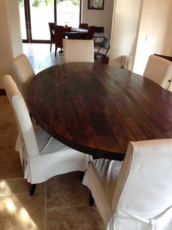 Current Oval Dining Tables For Sale Pertaining To Sale! Butcher Block Strip Oval Wood Dining Table From Reclaimed Wood (View 3 of 20)