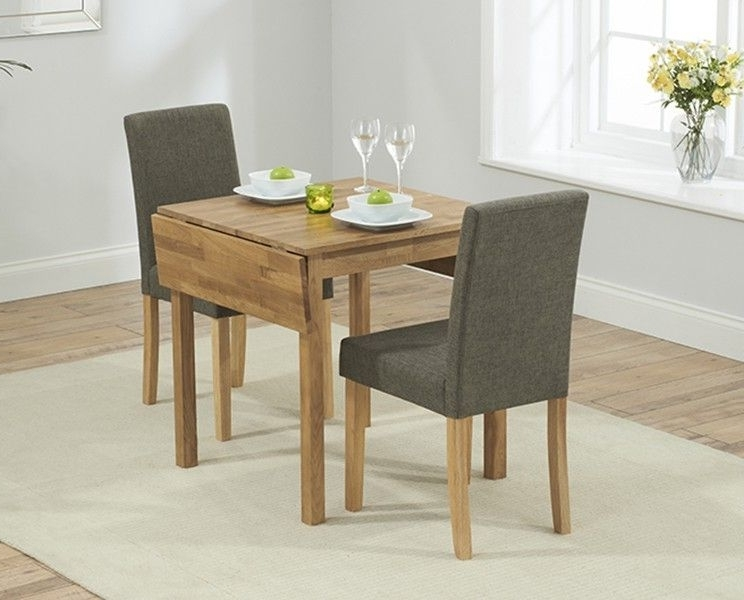 Current Oxford 70Cm Solid Oak Extending Dining Table With Brown Mia Fabric Regarding Small Extendable Dining Table Sets (View 2 of 20)