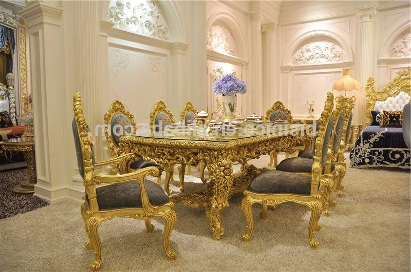 Current Royal Dining Tables In Antique Carved Dining Table Set,gorgeous Luxury Glass Top Dining (View 4 of 20)