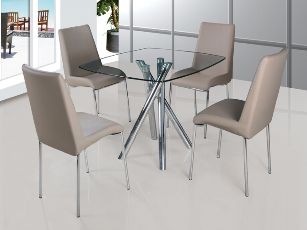Current Savio Small Glass Chrome Dining Room Table And 4 Chairs Royal Blue Intended For Glass And Chrome Dining Tables And Chairs (View 13 of 20)