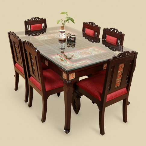 Current Six Seater Dining Tables Intended For Teak Wood 6 Seater Dining Table & Chair With Warli & Dhokra Work (View 4 of 20)