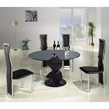 Current Smoked Glass Dining Tables And Chairs Intended For Swirl Smoke Glass Dining Table + 4 G650 Dining Chairs: Amazon.co (View 3 of 20)