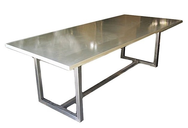 Current Stainless Steel Top Dining Table – Foter Within Brushed Steel Dining Tables (View 10 of 20)