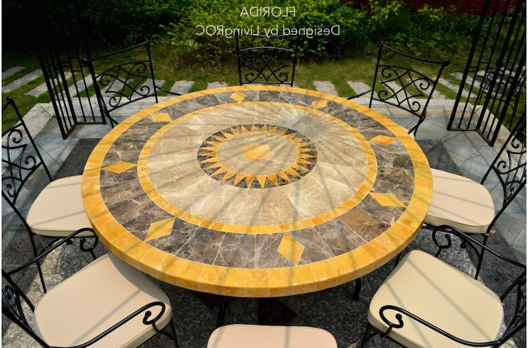 Current Stone Outdoor Patio Dining Table For Luxurious Outdoor – Living'roc With Mosaic Dining Tables For Sale (View 19 of 20)