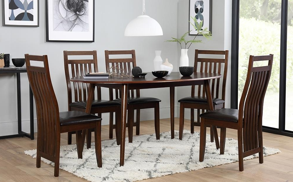 Current Suffolk Oval Dark Wood Dining Table With 4 Java Chairs (Brown Seat In Java Dining Tables (View 6 of 20)