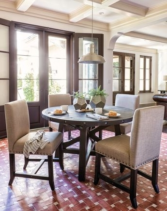 Current Tripton Rectangular Dining Room Table & 6 Uph Side Chairs With Jaxon Grey 5 Piece Round Extension Dining Sets With Upholstered Chairs (View 20 of 20)