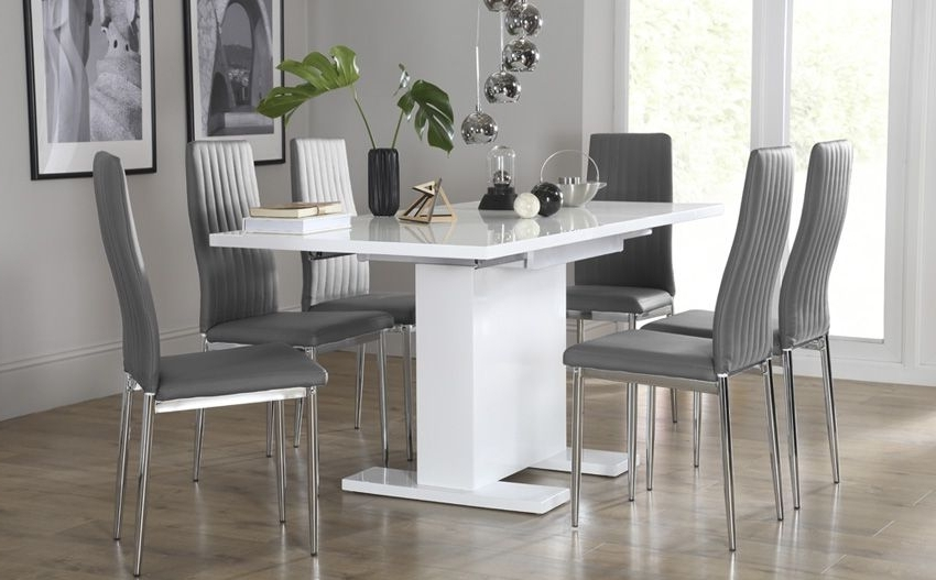 Current White Extendable Dining Tables And Chairs With Regard To Osaka White High Gloss Extending Dining Table – With 6 Leon Grey (View 3 of 20)