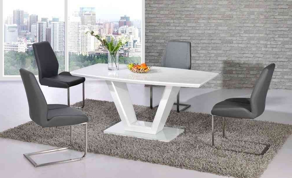 Current White High Gloss Dining Table And 4 Grey Chairs – Homegenies In White High Gloss Dining Tables And 4 Chairs (View 7 of 20)