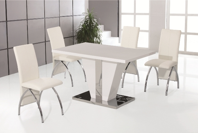 Current White High Gloss Dining Tables And Chairs Intended For Costilla White High Gloss Dining Table With 4 White Faux Leather (View 2 of 20)