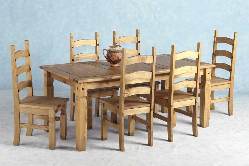 Current Wood Dining Tables And 6 Chairs Pertaining To Corona Mexican Pine Dining Set 6 Dining Table & 6 Chairs (View 3 of 20)