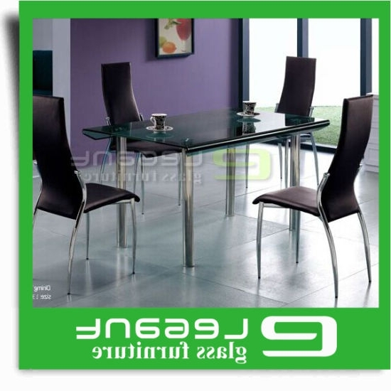Curved Glass Dining Tables Intended For Most Recently Released China Long Curved Glass Dining Table On 4 Stainless Steel Legs (View 3 of 20)