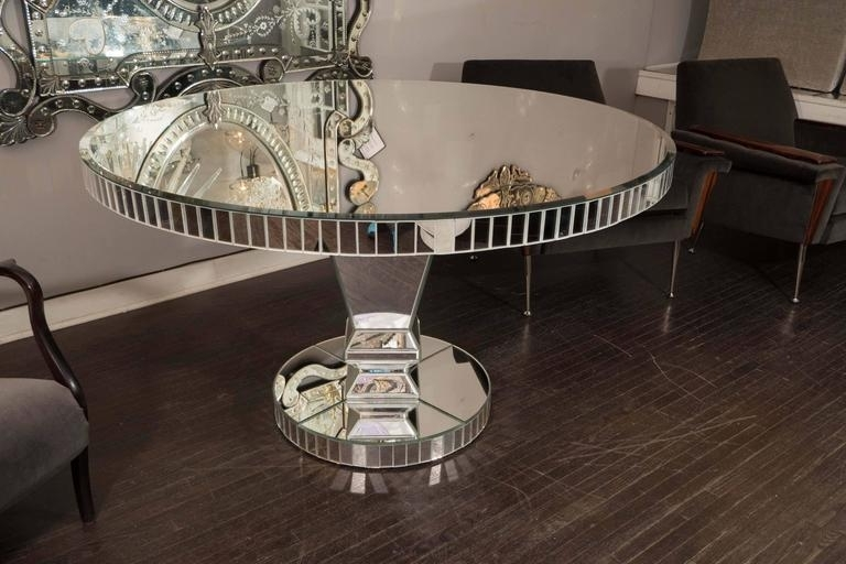 Custom Round Mirrored Dining Table For Sale At 1Stdibs For Recent Mirrored Dining Tables (View 6 of 20)