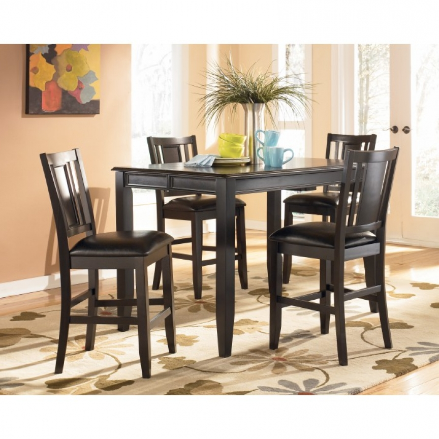 D371D5 Ashley Tack Carlyle 5 Piece Dining Set Pub Style Table 4 Intended For Trendy Candice Ii 7 Piece Extension Rectangular Dining Sets With Uph Side Chairs (View 10 of 20)