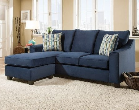 Dark Blue Sofa With Accent Pillows (View 4 of 15)