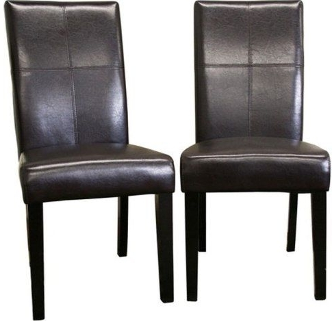 Dark Brown Leather Dining Chairs Intended For Most Recently Released Wholesale Interiors 2366 Brn Hail Leather Dining Chairs Set Of Two (View 7 of 20)