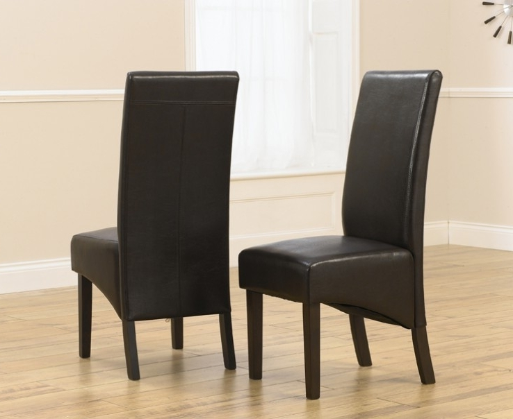 Dark Brown Leather Dining Chairs Throughout Most Up To Date Verona Dark Brown Faux Leather Dining Chair With Dark Brown Legs (A (View 10 of 20)