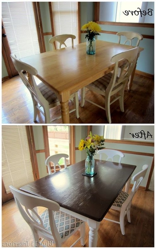 Dark Brown Wood Dining Tables With Regard To 2018 Dining Table Makeover: Before And After Dark Top With Light White (View 7 of 20)