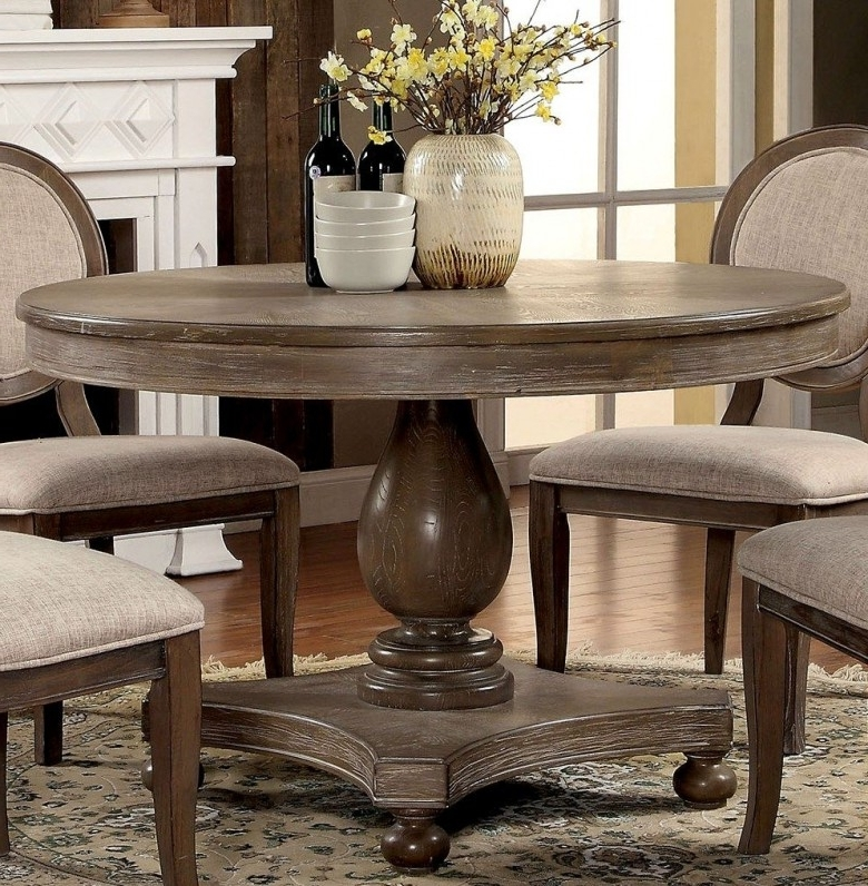 Dark Round Dining Tables In Best And Newest Furniture Of America Siobhan Rustic Dark Oak Round Dining Table (View 4 of 20)