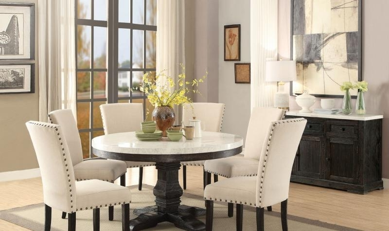 Dark Round Dining Tables Pertaining To Well Known Acme 72845 Nolan Classic White Marble Top Black Round Dining Table (View 5 of 20)