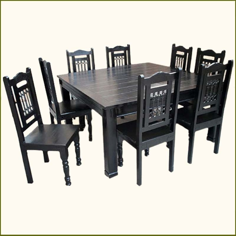 Dark Solid Wood Dining Tables Intended For 2017 Solid Wood Transitional Style 9 Pc Black Dining Room Table & Chair (View 6 of 20)