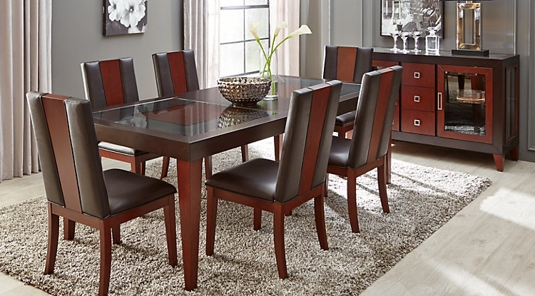 Dark Wood Dining Tables And Chairs Throughout Trendy Dark Wood Dining Room Sets Cherry Espresso Mahogany Brown Etc (View 9 of 20)