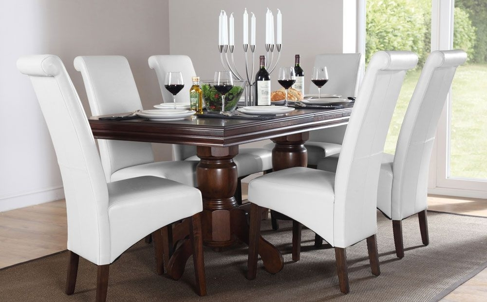 Dark Wooden Dining Tables Throughout Popular Dark Wood Dining Table With White Upholstered Chairs (View 8 of 20)