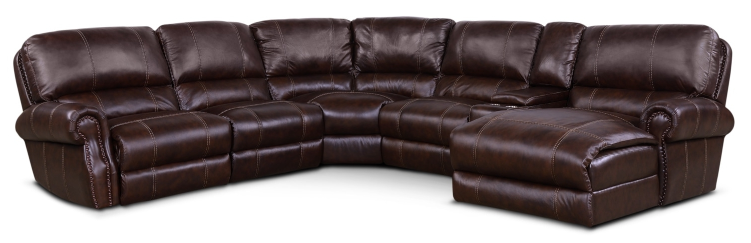 Dartmouth 6 Piece Power Reclining Sectional W/ Left Facing Chaise Regarding Newest Norfolk Chocolate 3 Piece Sectionals With Raf Chaise (View 4 of 15)
