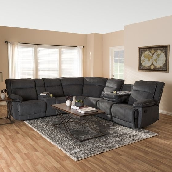 Denali Light Grey 6 Piece Reclining Sectionals With 2 Power Headrests For Most Recent Modern Fabric Reclining Sectionalbaxton Studio (taupe (brown (View 11 of 15)