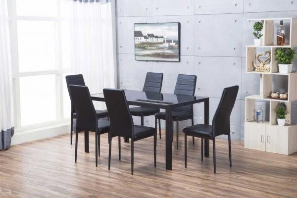 Designer Rectangle Black Glass Dining Table & 6 Chairs Set Regarding 2018 Black Glass Dining Tables (View 19 of 20)