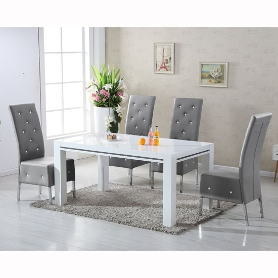 Diamante High Gloss Dining Table With 6 Asam Grey Chairs In Well Known Dining Tables Grey Chairs (View 6 of 20)