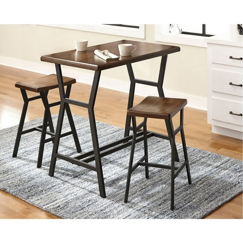 Dilllan Contemporary 3 Piece Bistro Set – Brown : Dining Sets – Best Inside Most Current Valencia 3 Piece Counter Sets With Bench (View 7 of 20)