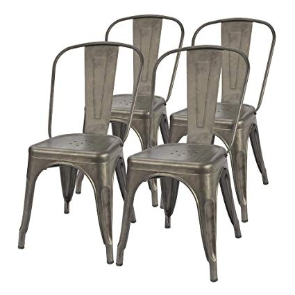 Dining Chairs With Popular Amazon – Furmax Metal Dining Chair Indoor Outdoor Use Stackable (View 7 of 20)