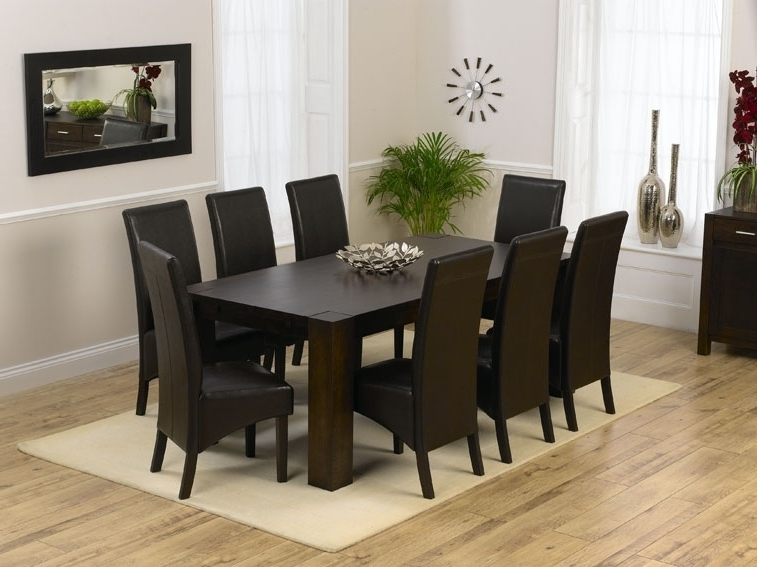 Dining Room 8 Seat Table Sets Leather Chair Cover Black, 8 Chair With Regard To Current 8 Seater Round Dining Table And Chairs (View 7 of 20)