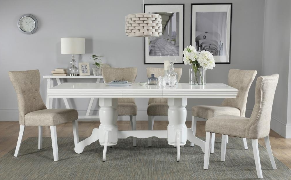 Dining Room Chairs Only For Most Current Chatsworth White Extending Dining Table With 6 Bewley Oatmeal Chairs (View 3 of 20)
