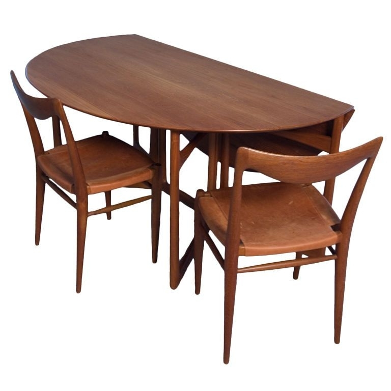 Dining Room: Classy Teak Folding Dining Table Set Design Ideas With Pertaining To Most Up To Date Oval Folding Dining Tables (Gallery 9 of 20)