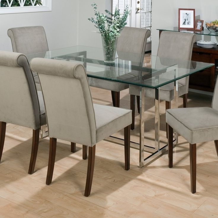 Dining Room Glass Tables Sets With Regard To Preferred Dining Room Round Glass Dining Table With Chairs Dining Room Chairs (View 2 of 20)