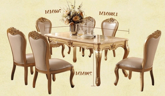 Dining Room Marble Dining Table Set Luxury European Style Restaurant Regarding Best And Newest Dining Tables And Chairs Sets (Gallery 4 of 20)
