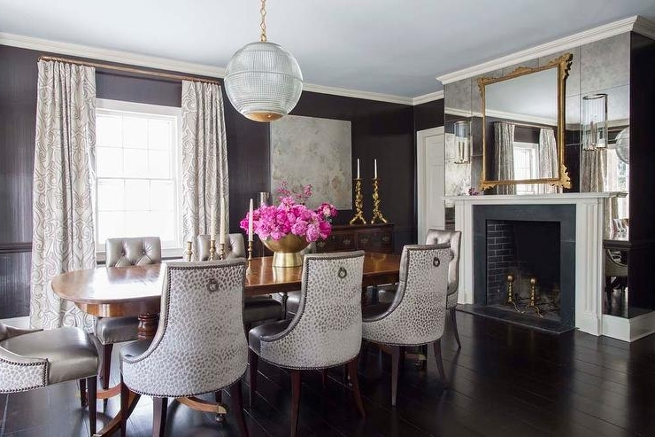 Dining Room With Antiqued Mirrored Fireplace Wall – Transitional Throughout Recent Antique Mirror Dining Tables (View 4 of 20)
